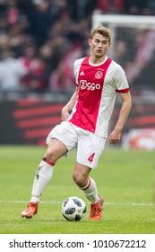 NETHERLANDS, Amsterdam - January 21th 2018: Ajax player Matthijs de Ligt during the Ajax - Feyenoord match