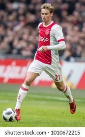 NETHERLANDS, Amsterdam - January 21th 2018: Ajax player Frenkie de Jong during the Ajax - Feyenoord match Ajax trainer coach Erik ten Hag  the Johan Cruijff ArenA