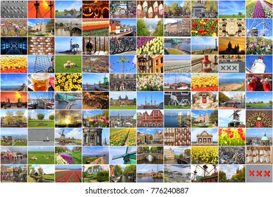 Netherlands and Amsterdam landscapes and landmarks. Europe vacation. Dutch tourism. Photo collage