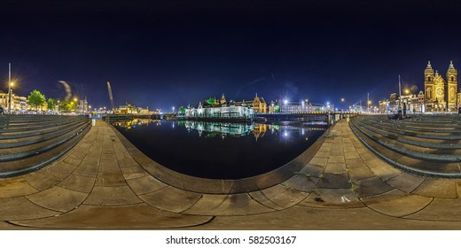 Netherlands, Amsterdam - May 2014: Full 360 equirectangular equidistant spherical panorama view of street of Amsterdam at night. Virtual reality content