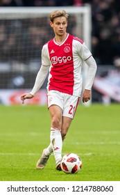 NETHERLANDS, AMSTERDAM - Octobber 28th 2018  Ajax player Frenkie de Jong during Feyenoord - Ajax