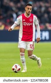 NETHERLANDS, AMSTERDAM - Octobber 28th 2018  Ajax player Noussair Mazraoui during Feyenoord - Ajax