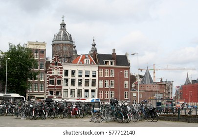 Netherlands, Amsterdam,june 2016: Bikes and traditionel houses give a good view on Amsterdam