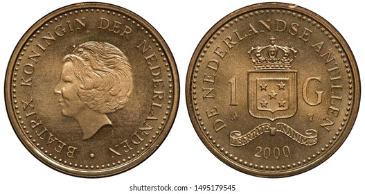 Netherlands Antilles coin 1 one gulden 2000, head of Queen Beatrix left, crowned shield with stars divides denomination, date below,