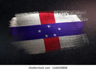 Netherlands Antilles Flag Made of Metallic Brush Paint on Grunge Dark Wall
