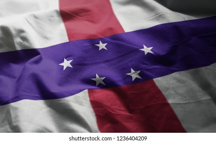 Netherlands Antilles Flag Rumpled Close Up