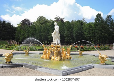 Netherlands, Apeldoorn - July 10, 2018: Het Loo Royal palace park. One of the fountains.