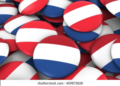 Netherlands and Austria Badges Background - Pile of Dutch and Austrian Flag Buttons 3D Illustration