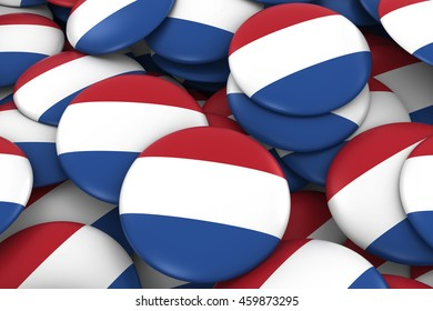 Netherlands Badges Background - Pile of Dutch Flag Buttons 3D Illustration