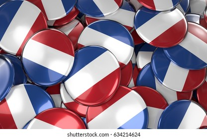 Netherlands  Badges Background - Pile of Netherlandish Flag Buttons. 3D Rendering