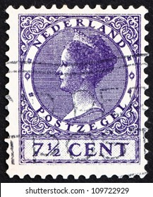 NETHERLANDS - CIRCA 1927: a stamp printed in the Netherlands shows Queen Wilhelmina, circa 1927