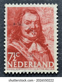 NETHERLANDS - CIRCA 1943 : Cancelled postage stamp printed by Netherlands, that shows portrait of  shows Michiel de Ruyter, Dutch Admiral, circa 1943.