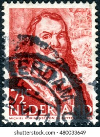 NETHERLANDS - CIRCA 1943: Postage stamp printed in the Netherlands, shows a portrait of the Dutch admiral Michiel Adriaenszoon de Ruyter, circa 1943