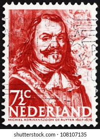 NETHERLANDS - CIRCA 1943: a stamp printed in the Netherlands shows Michiel de Ruyter, Dutch Admiral, circa 1943