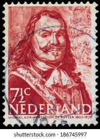 THE NETHERLANDS - CIRCA 1943: A stamp printed in Netherlands shows Admiral Michiel Adrianszoon De Ruyter, circa 1943