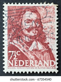THE NETHERLANDS - CIRCA 1943: a stamp printed in the Netherlands shows image of Admiral Michiel Adrianszoon De Ruyter. The Netherlands, circa 1943