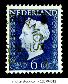 "NETHERLANDS - CIRCA 1947: A stamp printed in Netherlands shows portrait of Queen Wilhelmina - Queen regnant of Netherlands Kingdom (1890 - 1948), w/o inscription, series ""Queen Wilhelmina"", circa 1947"
