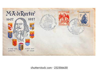 NETHERLANDS - CIRCA 1957: Old Netherlands commemorative envelope devoted to Michiel de Ruyter (1607-1676) the most famous Dutch admiral of the 17th century. Europe, on October 11, 2014