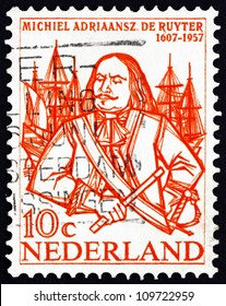 NETHERLANDS - CIRCA 1957: a stamp printed in the Netherlands shows Michiel de Ruyter, Dutch Admiral, circa 1957