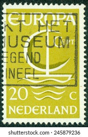 "NETHERLANDS - CIRCA 1966: A stamp printed in the Netherlands from the ""Europa"" issue shows Europa ship, circa 1966"