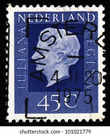 NETHERLANDS - CIRCA 1970s: A stamp printed in the Netherlands shows image of Queen Juliana, series, circa 1970s.
