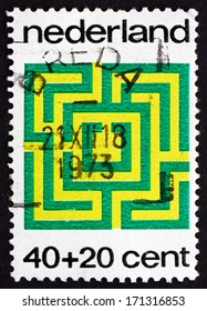 NETHERLANDS - CIRCA 1973: a stamp printed in the Netherlands shows Labyrinth, Game, circa 1973