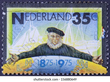 NETHERLANDS - CIRCA 1975: a stamp printed in the Netherlands shows Emblem of Zeeland Steamship Company, circa 1975