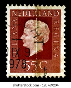 """NETHERLANDS - CIRCA 1976: A stamp printed in Netherlands shows portrait of Queen regnant of Netherlands Juliana with the inscription """"Juliana regina"""", from the series """"Queen Juliana"""", circa 1976"""