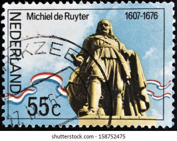 NETHERLANDS - CIRCA 1976: A stamp printed in Holand shows statue of Admiral Michiel Adrianszoon De Ruyter over the sea in Flushing, circa 1976