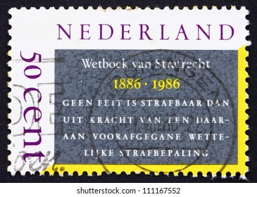 NETHERLANDS - CIRCA 1986: a stamp printed in the Netherlands shows Dutch Penal Code, Centenary, circa 1986