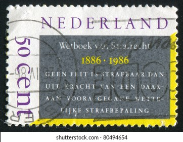 NETHERLANDS - CIRCA 1986: stamp printed by Netherlands, shows Penal Code, circa 1986