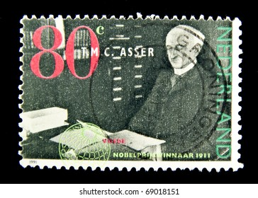 NETHERLANDS- CIRCA 1991: A stamp printed in Netherlands shows Tobias Michael Carel Asser, , Dutch statesman and Nobel Peace Prize series, circa 1991