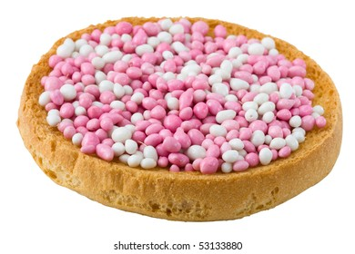 In Netherlands, it is a custom at birth of a baby girl to eat pink white muisjes on top of Dutch biscuits or round rusks. Muisjes are made of aniseed sprinkles with sugared outer layer