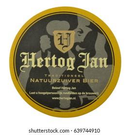 NETHERLANDS - DELFT - MEDIA FEBRUARY 2015: Beer coaster for advertising for Hertog Jan beer.