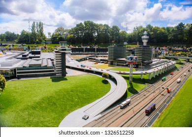 Netherlands. Den Haag. Miniature park Madurodam.July 2016. Visitors enjoying the replicas of famous dutch buildings as a tourist attraction in Madurodam park open air museum The Hague.