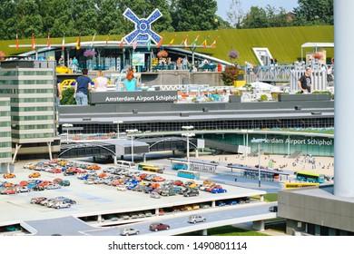 Netherlands. Den Haag. Miniature park Madurodam. August 2010. Replica Amsterdam Airport Schiphol in Madurodam Den Haag amusement park has been built at a scale of 1:25.