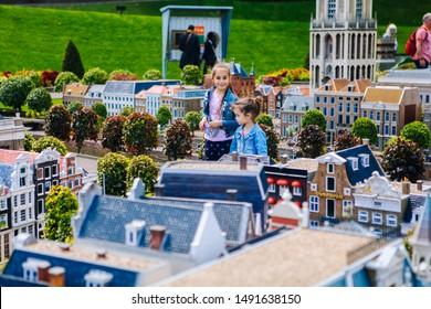 Netherlands. Den Haag. Miniature park Madurodam.July 2016. Visitors enjoying the replicas of famous dutch buildings as a tourist attraction in Madurodam park open air museum The Hague.