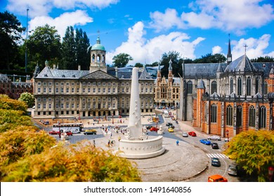 Netherlands. Den Haag. Miniature park Madurodam.July 2016. Miniature of The National Monument in Dam square, Amsterdam in the tourist attraction in Madurodam open air museum