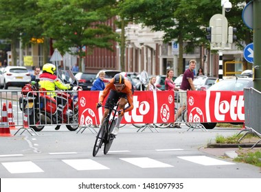THE NETHERLANDS, DEN HAGUE, AUGUST 17 2019: Jan-Willem van Schip of Pro Cycling Team Roompot-Charles during the individual  time trial of the BinckBank Tour 2019