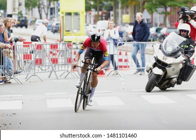 THE NETHERLANDS, DEN HAGUE, AUGUST 17 2019: Bob Jungels of Pro Cycling Team Deceuninck-Quick-Step  during the individual  time trial of the BinckBank Tour 2019