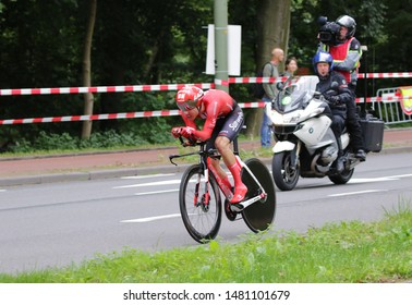 THE NETHERLANDS, DEN HAGUE, AUGUST 17 2019: Marc Hirschi of Pro Cycling Team Sunweb during the individual  time trial of the BinckBank Tour 2019