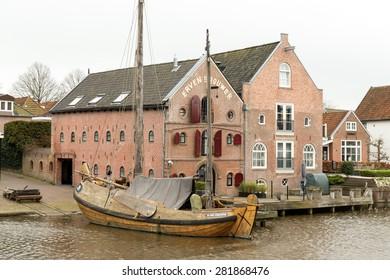 NETHERLANDS - DOKKUM - CIRCA APRIL 2015: Warehouses Erven Brouwer in Dokkum.
