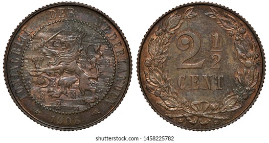 The Netherlands Dutch coin 2-1/2 two and a half cent 1906, crowned lion with sword and bundle of arrows within beaded circle, denomination within wreath,