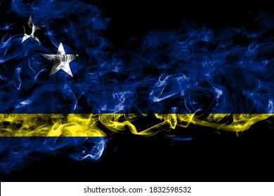 Netherlands, Dutch, Holland, Curacao smoke flag isolated on black background
