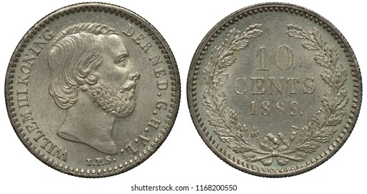 The Netherlands Dutch silver coin 10 ten cents 1889, King Willem III head right, face value and date flanked by oak sprigs,