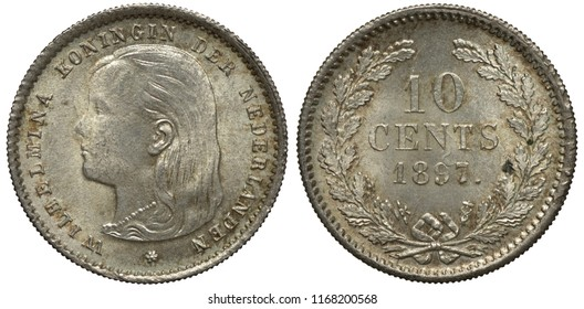 The Netherlands Dutch silver coin 10 ten cents 1897, Queen Wilhelmina head left, face value and date flanked by oak sprigs,