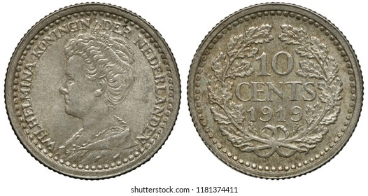 The Netherlands Dutch silver coin 10 ten cents 1919, Queen Wilhelmina head left, face value and date flanked by oak sprigs,