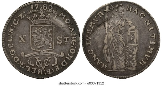 The Netherlands East Indies silver coin ten stuiver (1/2 half gulden) 1786, ruler United East India Company, crowned shield with lion with sword divides face value, VOC emblem, female with lance,