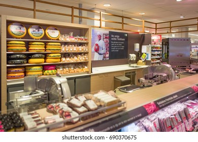 NETHERLANDS - EDE - JULY 16, 2017: Meat and cheese department in an Albert Heijn store in the center of Ede, Netherlands. Albert Heijn belongs to Ahold Delhaize.