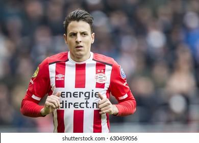 NETHERLANDS, EINDHOVEN - April 23th 2017: PSV vs Ajax in the Dutch Eredivisie football , Santiago Arias